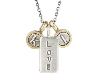 Love Necklace with Tiny letter Charms. Silver and Bronze Initial Charms.  Love Tag Necklace. Hand stamped Necklace.   Initial Necklace