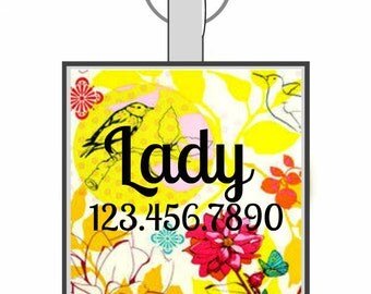 Yellow Bird Floral Personalized Dog ID Pet Tag Custom Pet Tag You Choose Tag Size & Colors