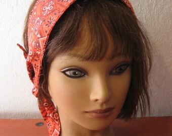 Hair Bandana, Rockabilly 50s, RED Hair Scarf, Bandana Headband, Knotted Bandana, BOHO Hairband, Fabric Headband, Women n Teens   #246