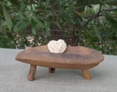 Little heart offering dish  - sandstone dish holds Coral heart - handmade in Australia - sandstone bowl