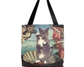 Tuxedo Cat as Birth of Venus - Tote Bag, Day Sling Bag