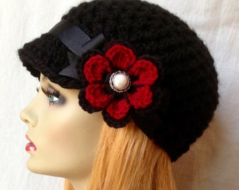 Crochet Newsboy, Hat, Black, Ribbon, Flower, Gray, Pearl Button, Gifts for Her, Valentines gifts, Birthday Gifts JE148NFR8