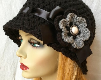 SALE Crochet Cloche Womens Hat, Black and Gray, Chunky, Flower, Flapper, Ribbon, Winter Hat, Birthday Gifts, Photo Prop, Handmade JE276CR6B