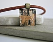 Fused Glass Hand Painted Metallic  Pendant Necklace, Gold,Copper,Silver, Black
