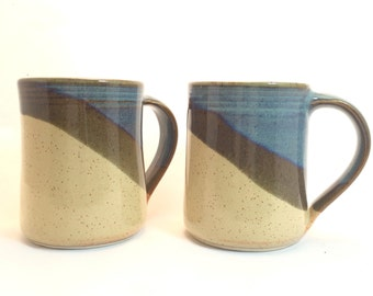 Set of 2-  Sahara /Twilight blue combination 16oz. Ceramic Handmade Mugs