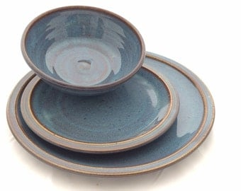 Blue 3 piece Ceramic Pottery Dinnerware - Stoneware Dinner Plates Set Ceramic tableware- Ceramic Pottery Dinnerware