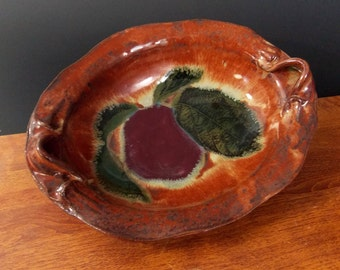 Oval Bowl ~ Apple & Leaf Design ~