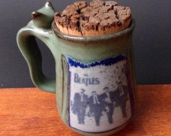 Stoneware Mug With Natural Bark Cork ~ The Beatles Design ~