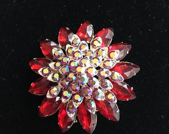 Vintage AB Red Rhinestone Flower Pin