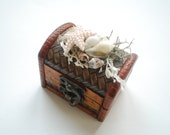 Alternative Ring Bearer Box Pillow, Engagement Ring Holder, Nautical Vintage Wood Ring Box, Nautical Beach Wedding Party, Hawaiian Wedding,