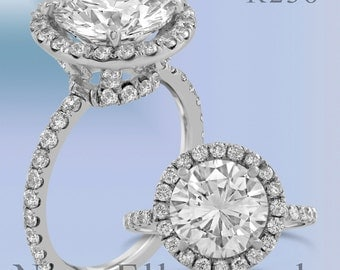 Round cut halo antique style diamond engagement ring R238