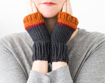 Knitted Fingerless Gloves, Colorblock Wool Winter Fingerless Mittens - Phlox Mittens