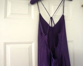 Vintage Nightgown Linea Donatella Purple Lingerie Spaghetti Straps Large 1980s  Made in USA