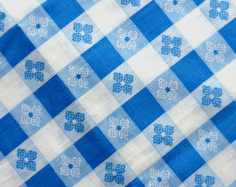 Vintage Fabric Blue and White Check Floral Cotton