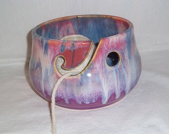 Pottery Chick yarn bowl in orchid, purples, and blues