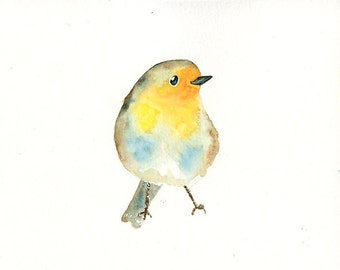 ROBIN Original watercolor painting 10x8inch