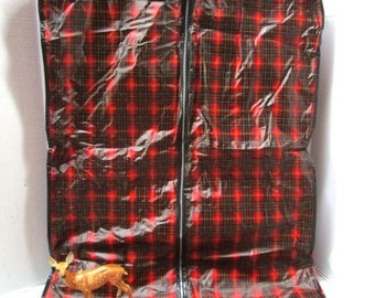 Vintage Red Plaid Tartan Hanging Garment Bag, Luggage Travel Bag, Closet Organizer, Clothing Protector Scottish Fest Glamping Wedding Travel