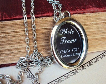 Long Necklace Picture Frame Pendant Oval Photo Frame Textured Chain Silver plate Personalized Pendant