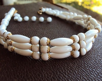 Vintage Choker Necklace white Beaded Chain West Germany Mid Century Mod 1960s 60s Costume Jewelry