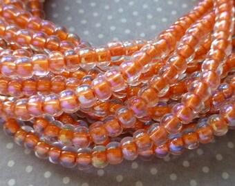 free UK postage 150 beads Czech Glass Beads 4.1mm Peach Cyln AB, SB6-58589