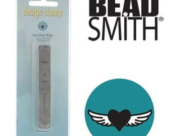 BeadSmith Design Metal Stamp Heart Wings 6mm