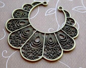 4 pcs Antique bronze large chandelier earring component, pendant