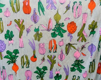 Vintage 1960s Novelty Print Fabric with Colorful Vegetables and Polka Dots