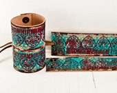 Etsy Cuff Bracelet Leather Jewelry - Turquoise Paint February Finds - Wrist Cuffs For Bohemian Women - Valentine's Day Gift