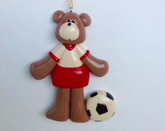 Personalized Soccer Bear Christmas Ornament