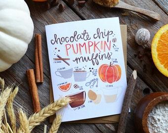 Pumpkin Muffin Recipe Pumpkin Spice, Greeting Card, Happy Fall, Autumn, Illustration, Pumpkin Spice Season, Pumpkin Spice Everything