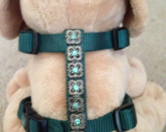SWAROVSKI CRYSTAL GREEN adjustable dog harness, size small