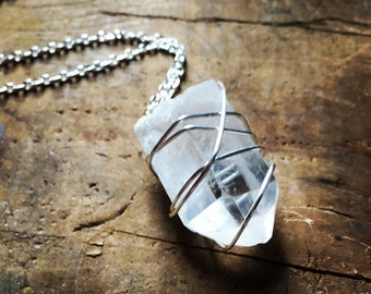 Quartz crystal silver wrapped necklace with silver chain