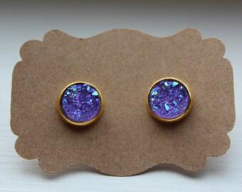 Purple Gold Druzy Earrings, Drusy Earrings, Purple Druzy Earrings, Gold Post, Purple Druzy Post, Gold Purple Druzy Earring, 10mm Druzy