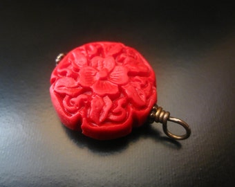 Cinnabar Pendant, Antique Brass Wire Wrapped Cinnabar Pendant, Red Cinnabar, Cinnabar Jewelry, Cinnabar Necklace, Red Pendant, Red Necklace