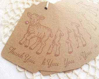 Little Lamb Baby Shower Thank You Tags Pink Flower Set of 8