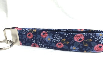 Rifle Paper Co. Key Fob Les Fleurs Fabric Wedding Blue Rosa Floral Navy