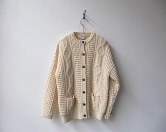 Vintage irish aran cream wool chunky oversized cardigan