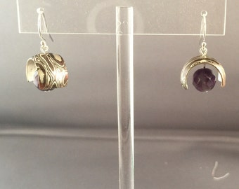 Mokume Gane and Amethyst earrings