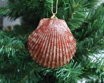 Small Glittery Shell Christmas Tree Ornament