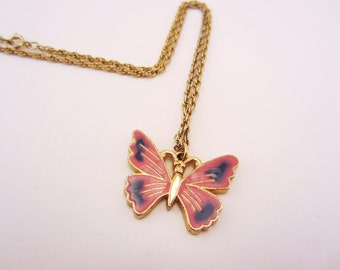 Butterfly necklace. Pink butterfly, vintage enamel gold charm. Upcycled vintage rope necklace chain. Pink and blue wings.