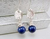 Blue Lapis Earrings, Small Blue Earrings, Blue Drop Earrings, Lapis Jewelry, Lapis Drop Earrings, Blue Jewelry, Jewelry Gift