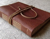 "Rustic leather journal, 5.5""x 7.5, brown, handmade leather journal by Dancing Grey Studio (1717)"