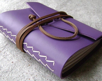 """Handmade leather journal, 4"""" x 6"""", lavender journal, vintage style diary, travel journal, leather sketchbook,  (1661)"""