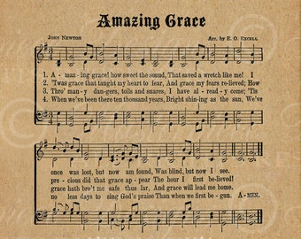 Amazing Grace / Hymn / Hymnal / 8x10 Inch Digital Print / Ready To Frame / Printable Instant Download and Print / Digital Sheet