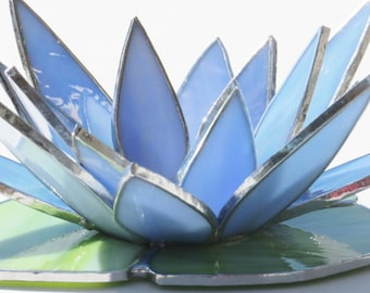 Blue Water Lily, Stained Glass Tealight, Egyptian Blue Lotus, Candle Holder