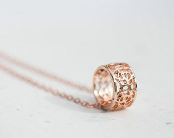 Ring Pendant Necklace Rose Gold Hollow Filigree Pendant Boho Pendulum Pendant Gold Necklace modern minimalist jewelry
