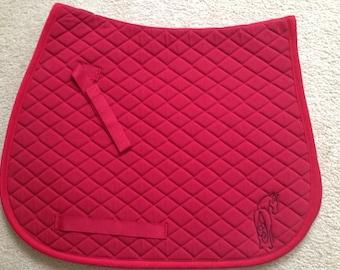 Centuar Pony Saddle Pad-Emboridered Horse-Back View-Red