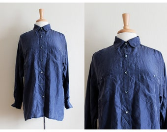 Vintage Navy Blue Silk Slouchy Button Down Blouse