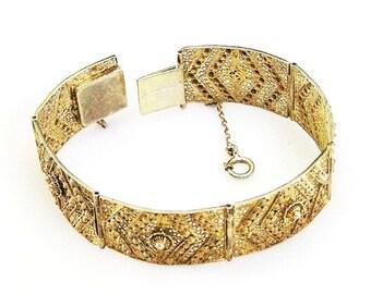 Etruscan Style Gold Tone Bracelet Pierced Openwork Setting