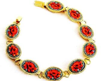 Mosaic Tile Bracelet From Italy 7-5/8 long